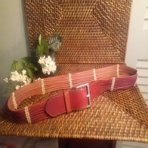 Talbots leather woven boho belt NWT sz L